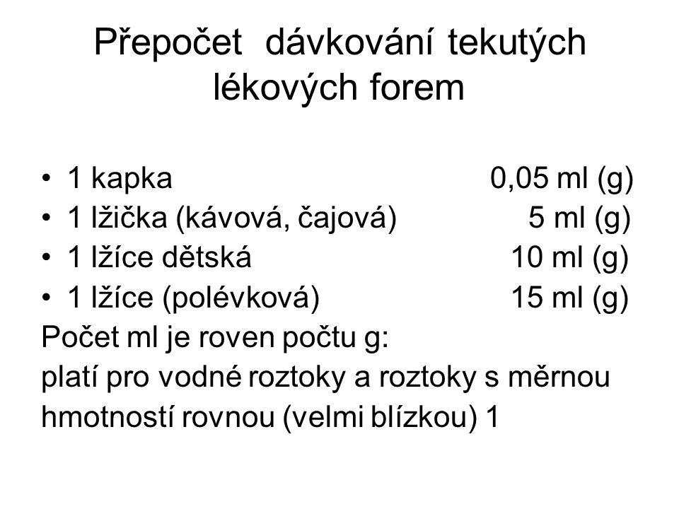 Přepočet dávkování tekutých lékových forem •1 kapka 0,05 ml (g) •1 lžička (kávová, čajová) 5 ml (g) •1 lžíce dětská 10 ml (g) •1 lžíce (polévková) 15