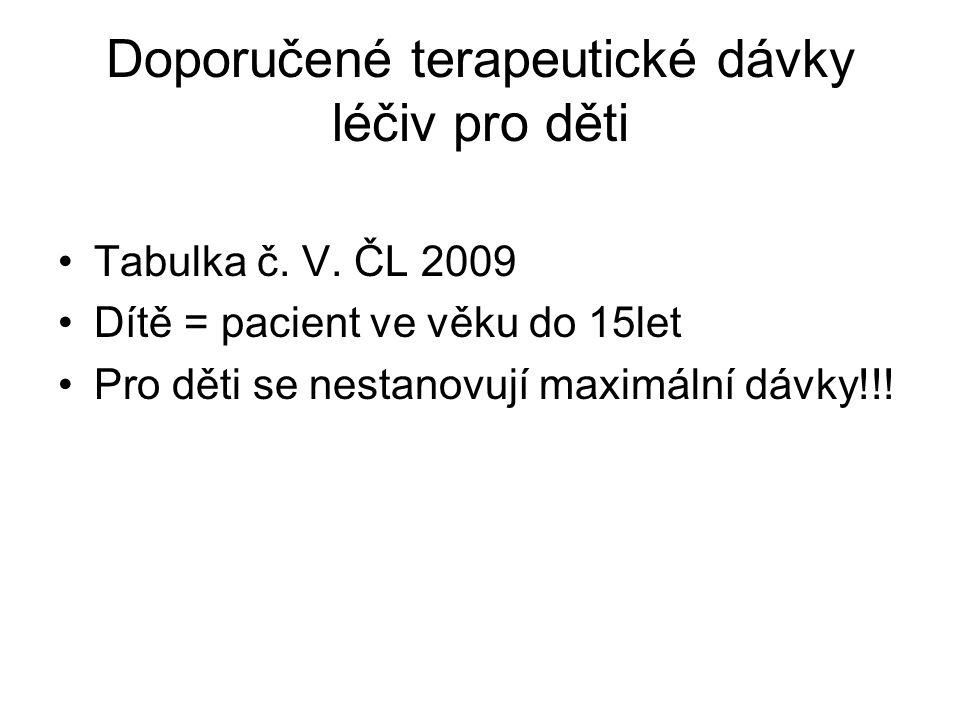 Doporučené terapeutické dávky léčiv pro děti •Tabulka č. V. ČL 2009 •Dítě = pacient ve věku do 15let •Pro děti se nestanovují maximální dávky!!!