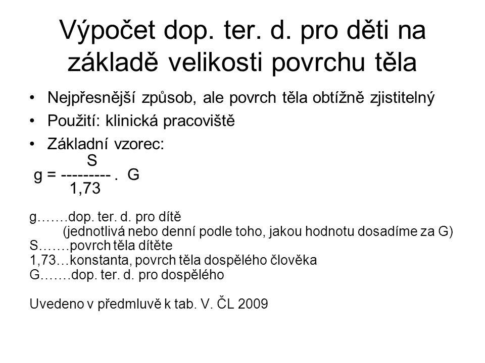 Výpočet dop. ter. d. pro děti na základě velikosti povrchu těla •Nejpřesnější způsob, ale povrch těla obtížně zjistitelný •Použití: klinická pracovišt