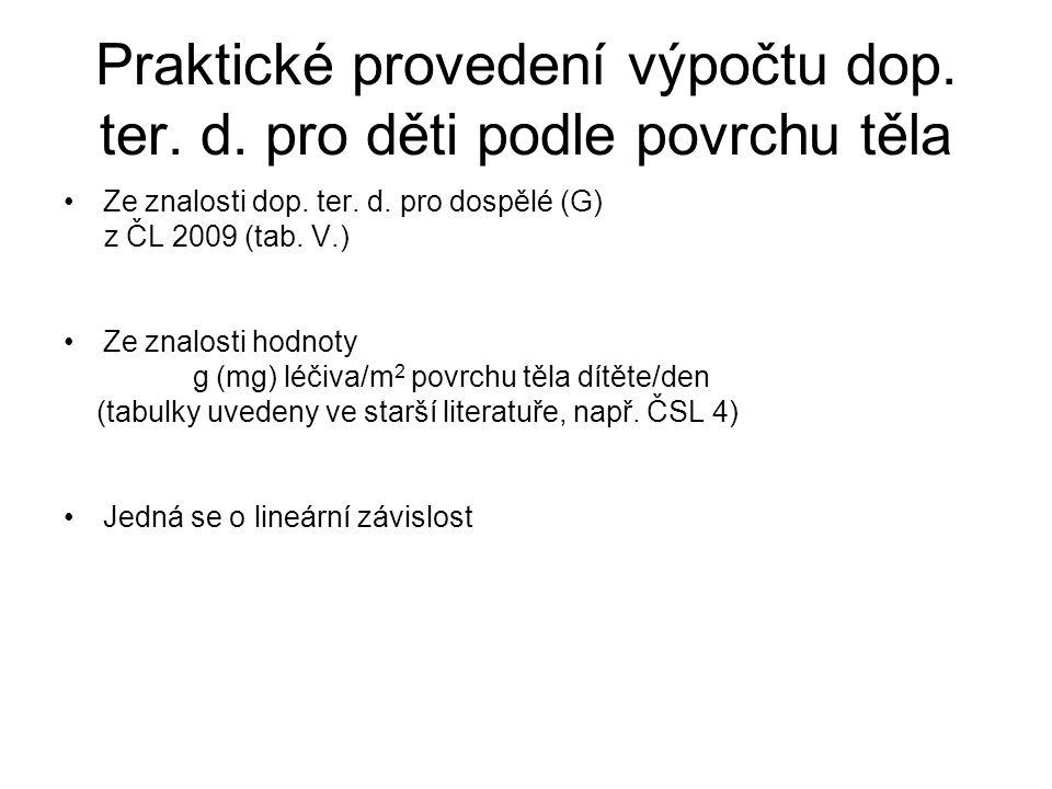 Praktické provedení výpočtu dop. ter. d. pro děti podle povrchu těla •Ze znalosti dop. ter. d. pro dospělé (G) z ČL 2009 (tab. V.) •Ze znalosti hodnot