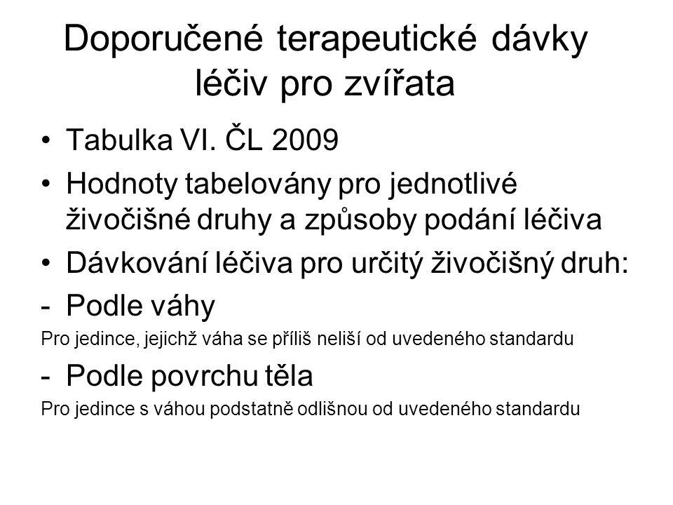 Doporučené terapeutické dávky léčiv pro zvířata •Tabulka VI. ČL 2009 •Hodnoty tabelovány pro jednotlivé živočišné druhy a způsoby podání léčiva •Dávko