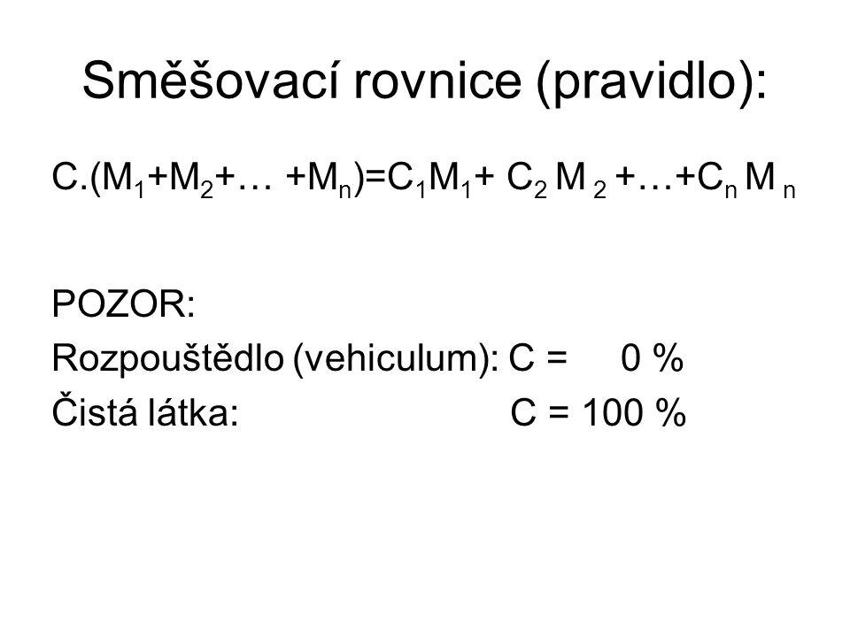 Směšovací rovnice (pravidlo): C.(M 1 +M 2 +… +M n )=C 1 M 1 + C 2 M 2 +…+C n M n POZOR: Rozpouštědlo (vehiculum): C = 0 % Čistá látka: C = 100 %
