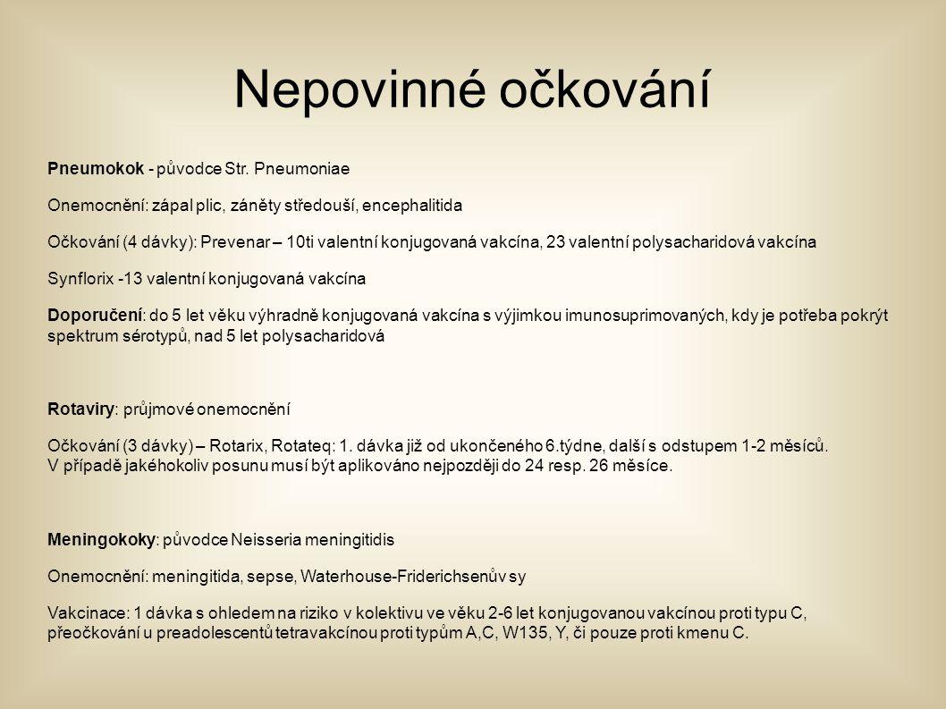 Nepovinné očkování Pneumokok - původce Str. Pneumoniae Onemocnění: zápal plic, záněty středouší, encephalitida Očkování (4 dávky): Prevenar – 10ti val
