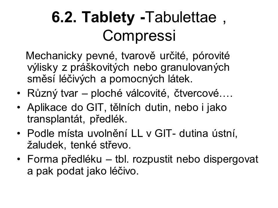 6.2. Tablety -Tabulettae, Compressi Mechanicky pevné, tvarově určité, pórovité výlisky z práškovitých nebo granulovaných směsí léčivých a pomocných lá