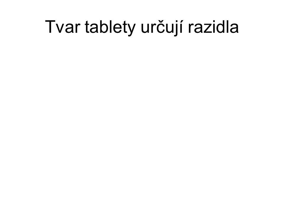 Tvar tablety určují razidla