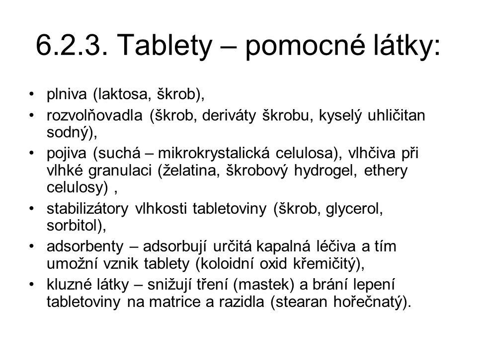 6.2.3. Tablety – pomocné látky: •plniva (laktosa, škrob), •rozvolňovadla (škrob, deriváty škrobu, kyselý uhličitan sodný), •pojiva (suchá – mikrokryst