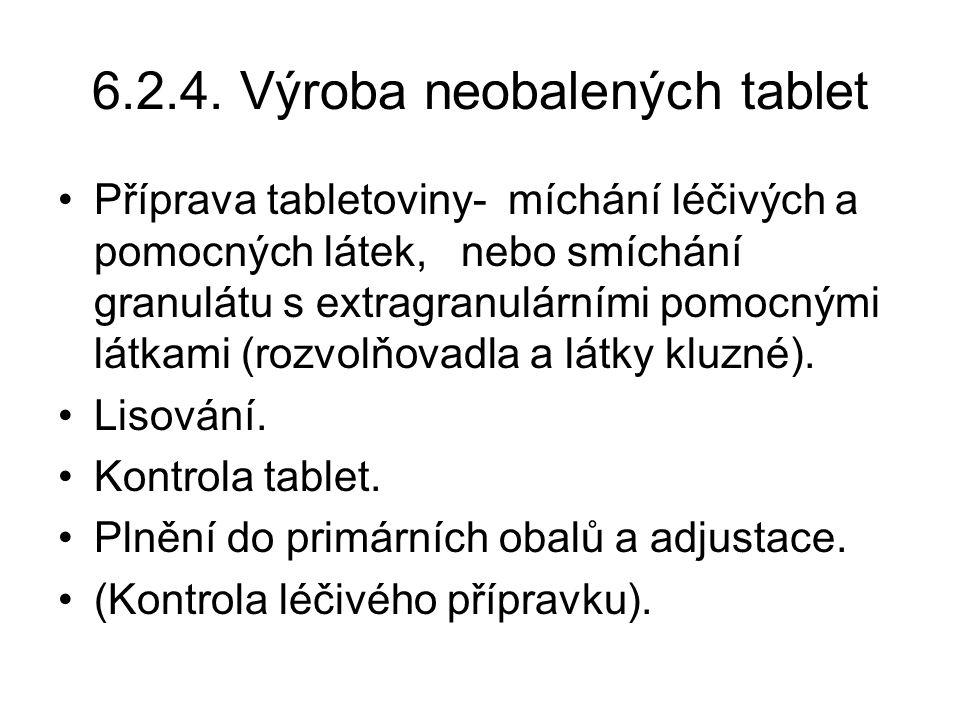 6.2.4. Výroba neobalených tablet •Příprava tabletoviny- míchání léčivých a pomocných látek, nebo smíchání granulátu s extragranulárními pomocnými látk