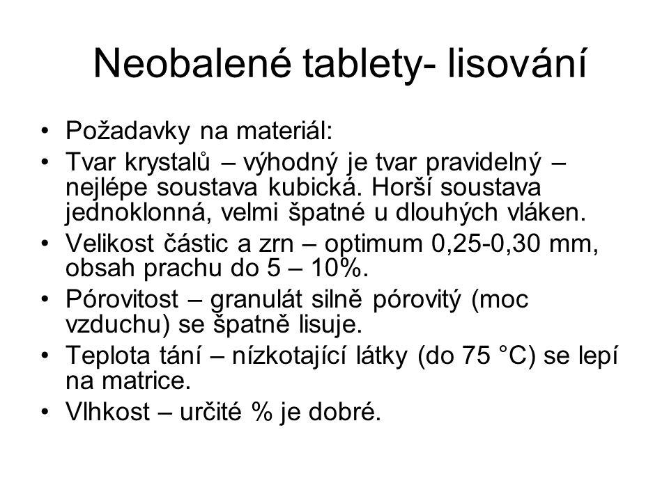 Neobalené tablety- lisování •Požadavky na materiál: •Tvar krystalů – výhodný je tvar pravidelný – nejlépe soustava kubická. Horší soustava jednoklonná