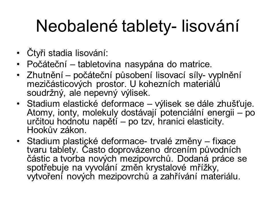 Neobalené tablety- lisování •Čtyři stadia lisování: •Počáteční – tabletovina nasypána do matrice. •Zhutnění – počáteční působení lisovací síly- vyplně