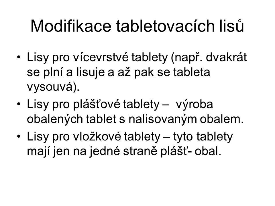 Modifikace tabletovacích lisů •Lisy pro vícevrstvé tablety (např. dvakrát se plní a lisuje a až pak se tableta vysouvá). •Lisy pro plášťové tablety –