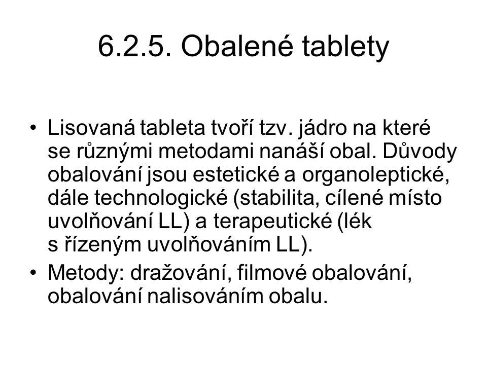 6.2.5. Obalené tablety •Lisovaná tableta tvoří tzv. jádro na které se různými metodami nanáší obal. Důvody obalování jsou estetické a organoleptické,