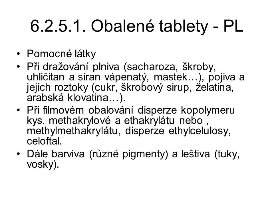 6.2.5.1. Obalené tablety - PL •Pomocné látky •Při dražování plniva (sacharoza, škroby, uhličitan a síran vápenatý, mastek…), pojiva a jejich roztoky (