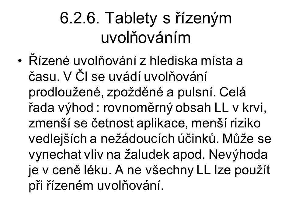 6.2.6. Tablety s řízeným uvolňováním •Řízené uvolňování z hlediska místa a času. V Čl se uvádí uvolňování prodloužené, zpožděné a pulsní. Celá řada vý