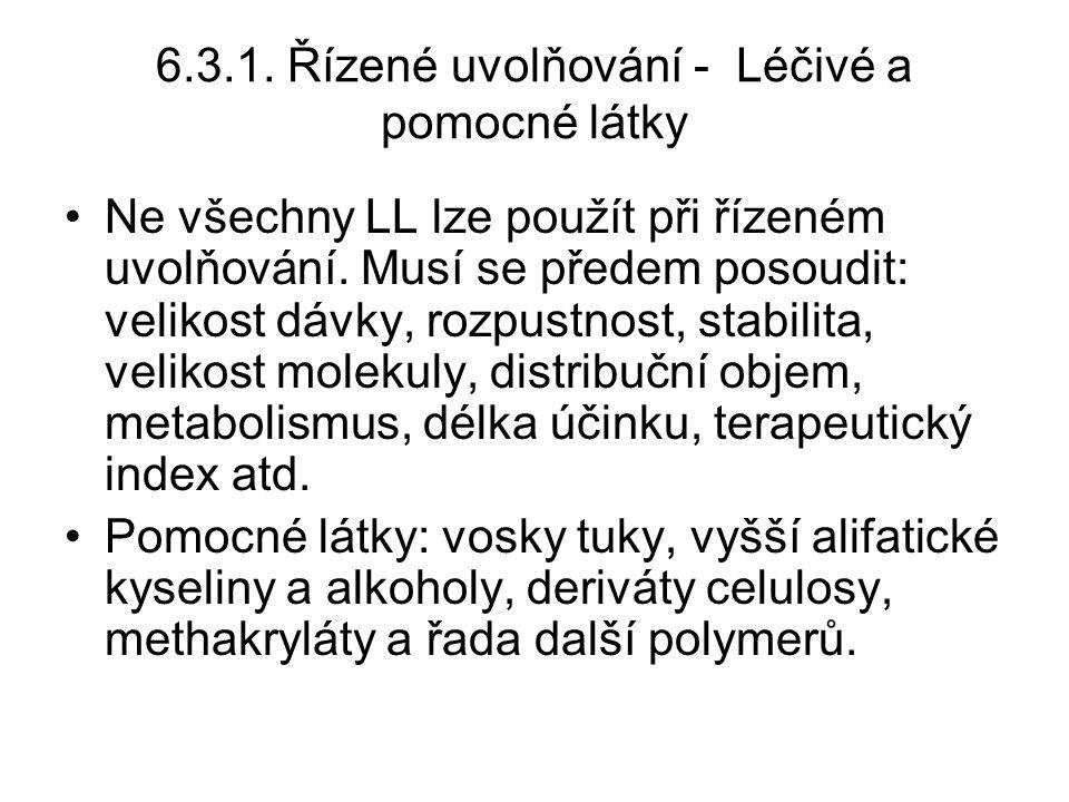 6.3.1.Řízené uvolňování - Léčivé a pomocné látky •Ne všechny LL lze použít při řízeném uvolňování.