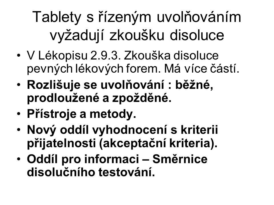 Tablety s řízeným uvolňováním vyžadují zkoušku disoluce •V Lékopisu 2.9.3. Zkouška disoluce pevných lékových forem. Má více částí. •Rozlišuje se uvolň
