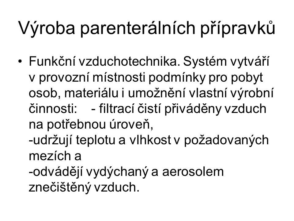 Výroba parenterálních přípravků •Funkční vzduchotechnika. Systém vytváří v provozní místnosti podmínky pro pobyt osob, materiálu i umožnění vlastní vý