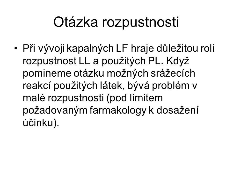 Otázka rozpustnosti •Při vývoji kapalných LF hraje důležitou roli rozpustnost LL a použitých PL. Když pomineme otázku možných srážecích reakcí použitý