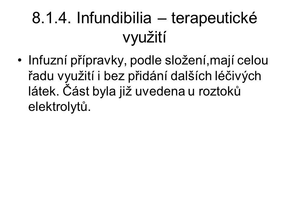 8.1.4. Infundibilia – terapeutické využití •Infuzní přípravky, podle složení,mají celou řadu využití i bez přidání dalších léčivých látek. Část byla j