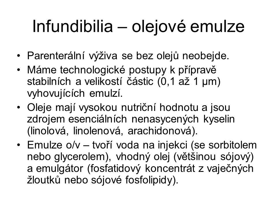Infundibilia – olejové emulze •Parenterální výživa se bez olejů neobejde. •Máme technologické postupy k přípravě stabilních a velikostí částic (0,1 až