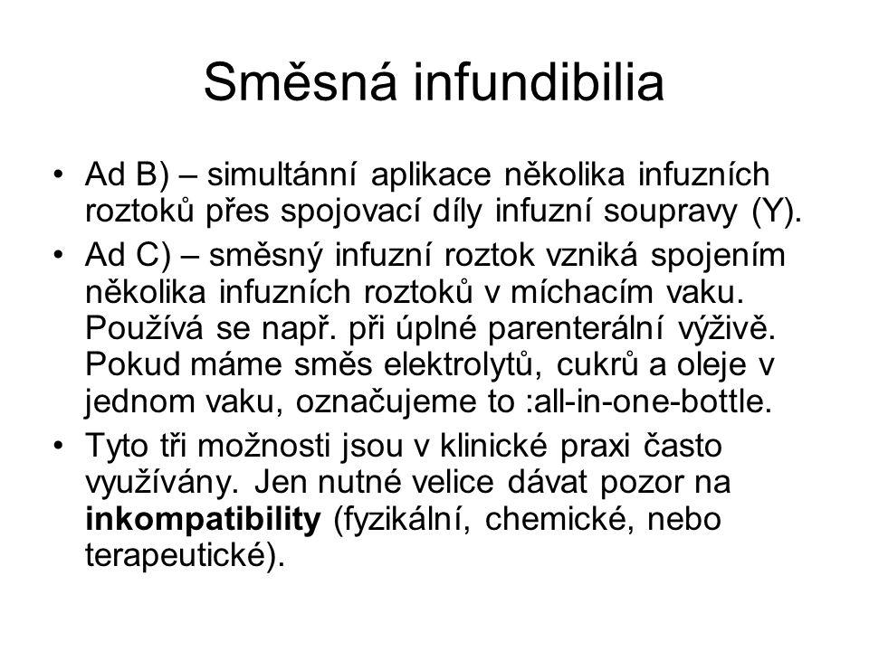 Směsná infundibilia •Ad B) – simultánní aplikace několika infuzních roztoků přes spojovací díly infuzní soupravy (Y). •Ad C) – směsný infuzní roztok v