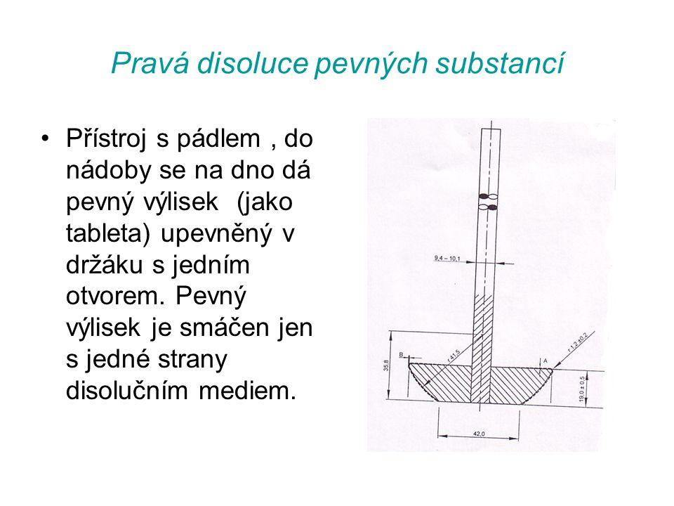 Pravá disoluce pevných substancí •Přístroj s pádlem, do nádoby se na dno dá pevný výlisek (jako tableta) upevněný v držáku s jedním otvorem.
