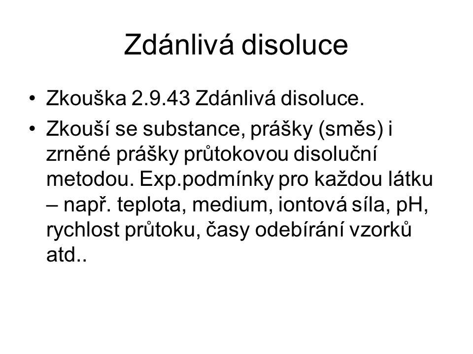 Zdánlivá disoluce •Zkouška 2.9.43 Zdánlivá disoluce. •Zkouší se substance, prášky (směs) i zrněné prášky průtokovou disoluční metodou. Exp.podmínky pr