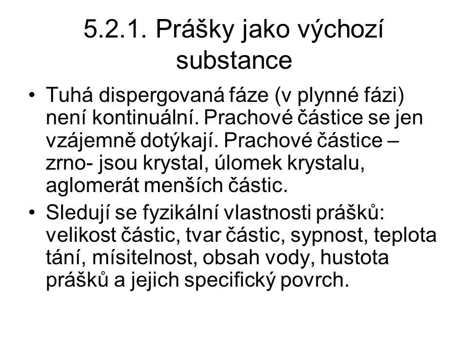 5.2.1. Prášky jako výchozí substance •Tuhá dispergovaná fáze (v plynné fázi) není kontinuální. Prachové částice se jen vzájemně dotýkají. Prachové čás