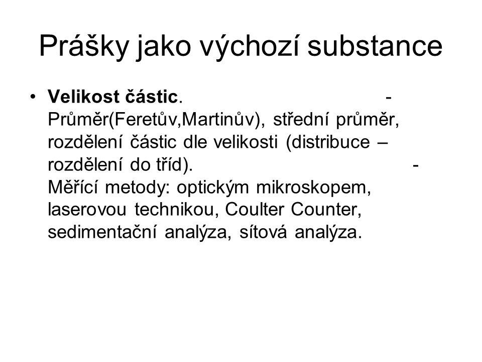 Prášky jako výchozí substance •Velikost částic. - Průměr(Feretův,Martinův), střední průměr, rozdělení částic dle velikosti (distribuce – rozdělení do