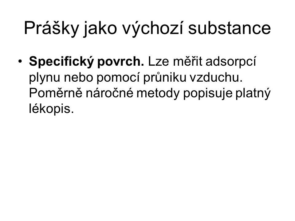 Prášky jako výchozí substance •Specifický povrch.