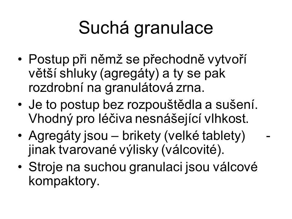 Suchá granulace •Postup při němž se přechodně vytvoří větší shluky (agregáty) a ty se pak rozdrobní na granulátová zrna. •Je to postup bez rozpouštědl
