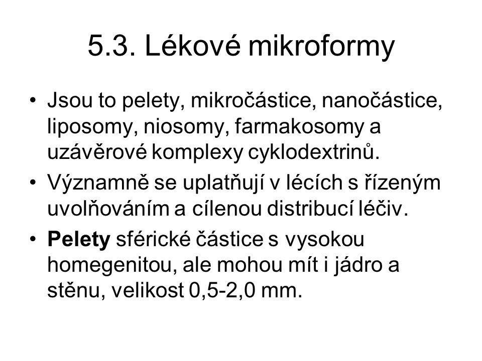 5.3. Lékové mikroformy •Jsou to pelety, mikročástice, nanočástice, liposomy, niosomy, farmakosomy a uzávěrové komplexy cyklodextrinů. •Významně se upl