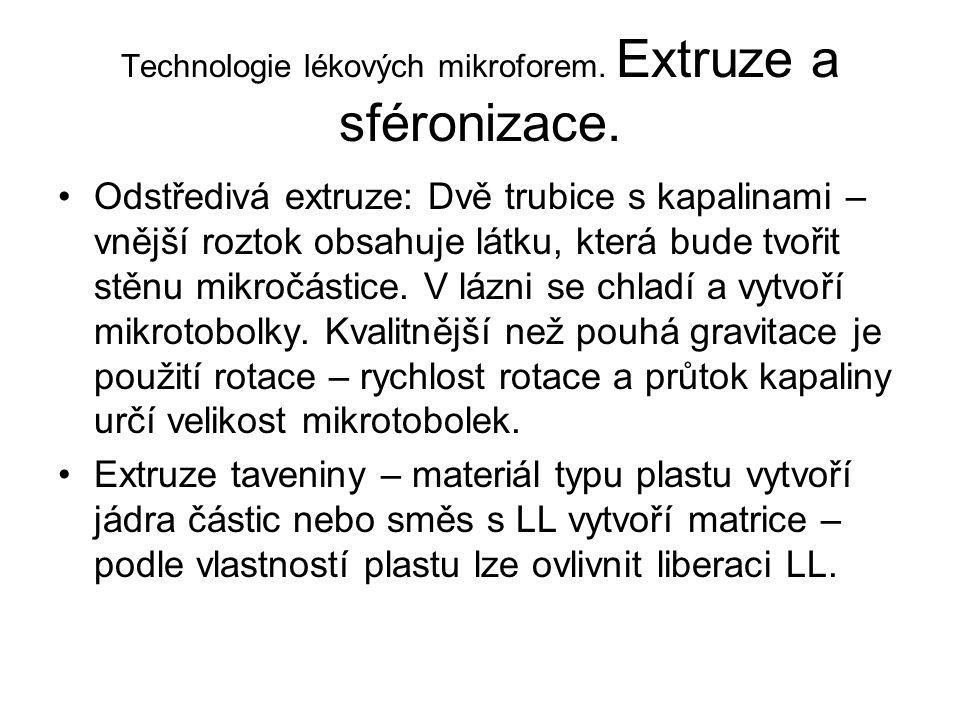 Technologie lékových mikroforem. Extruze a sféronizace. •Odstředivá extruze: Dvě trubice s kapalinami – vnější roztok obsahuje látku, která bude tvoři