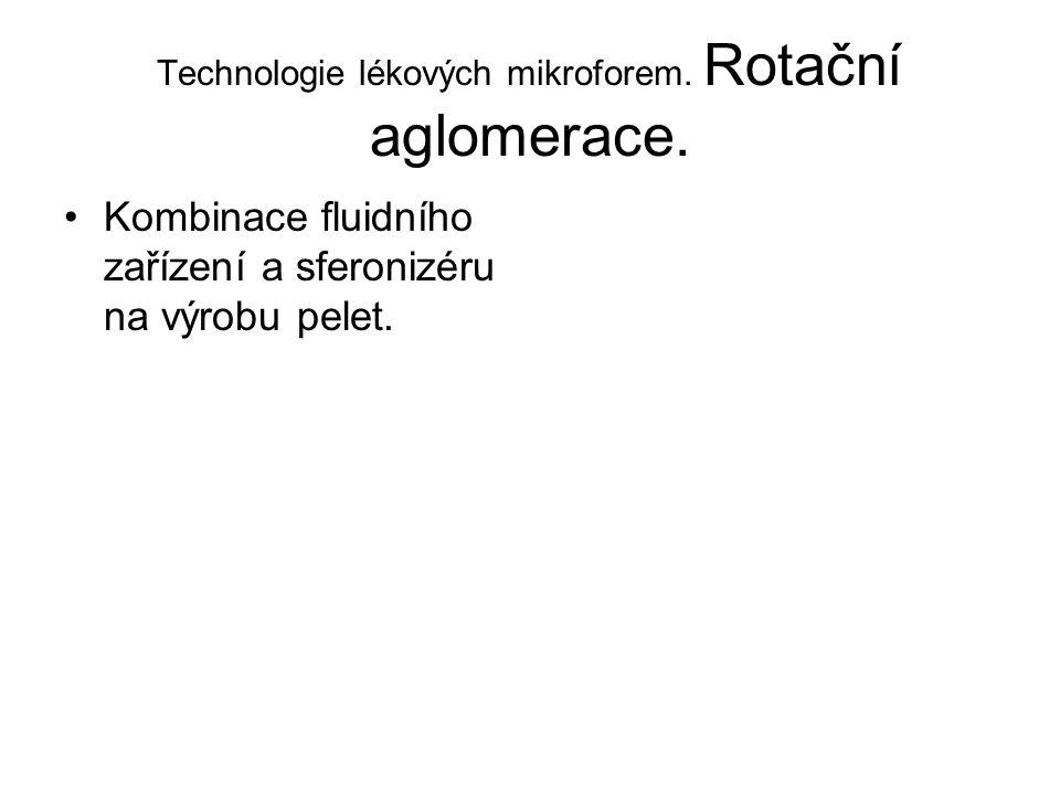 Technologie lékových mikroforem. Rotační aglomerace. •Kombinace fluidního zařízení a sferonizéru na výrobu pelet.