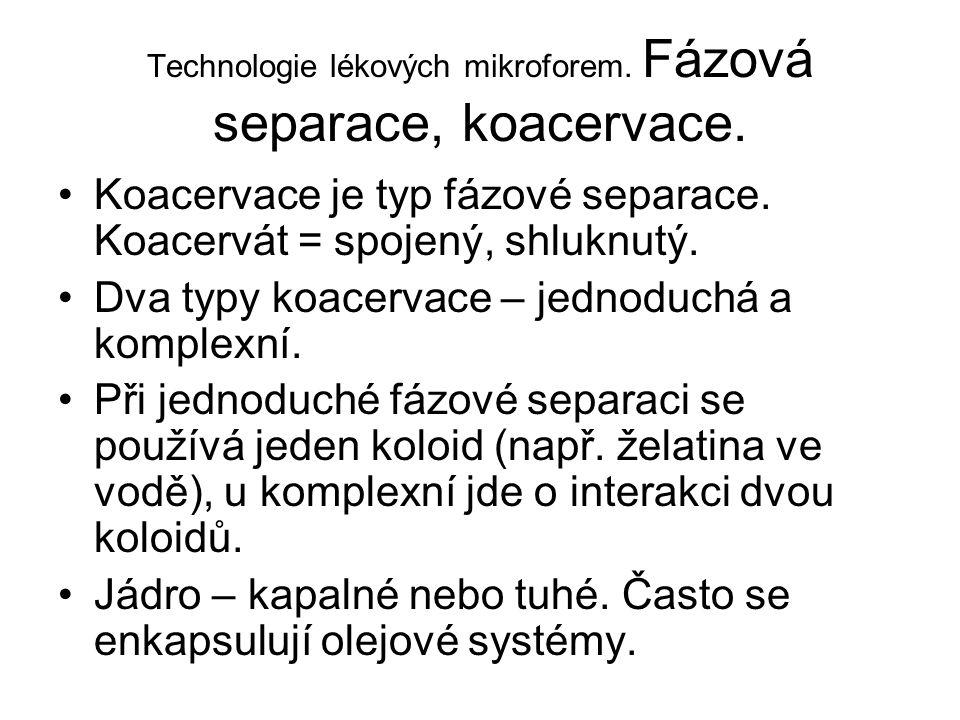 Technologie lékových mikroforem. Fázová separace, koacervace. •Koacervace je typ fázové separace. Koacervát = spojený, shluknutý. •Dva typy koacervace