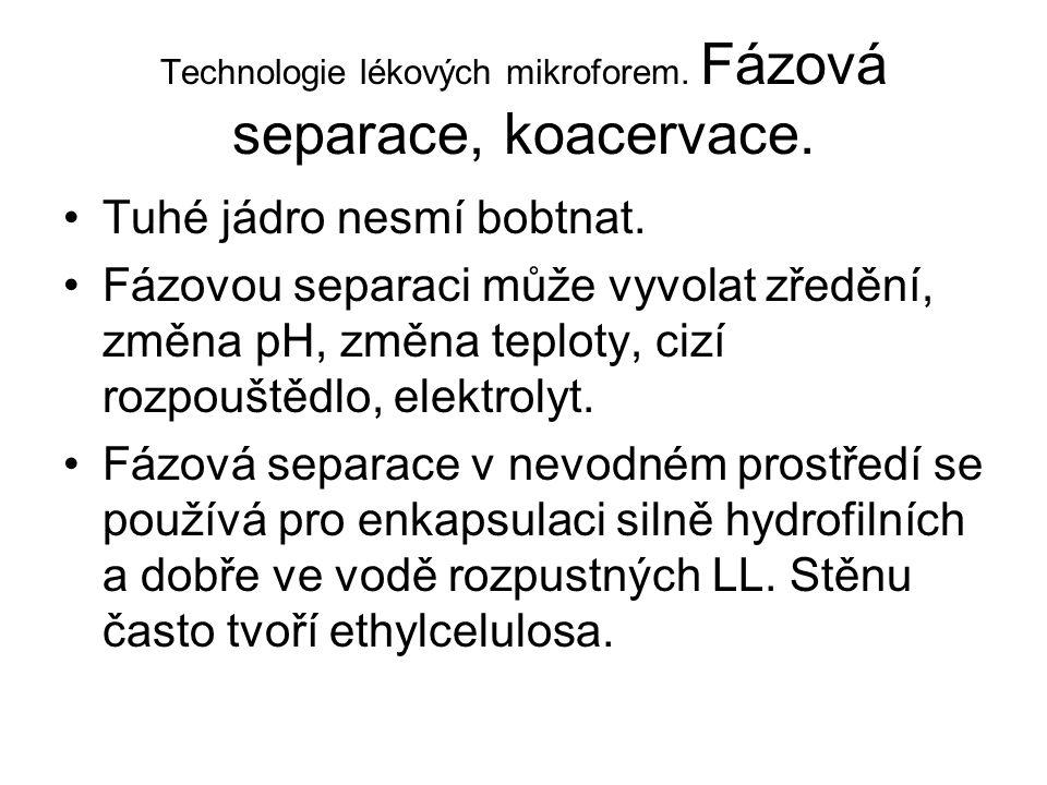 Technologie lékových mikroforem. Fázová separace, koacervace. •Tuhé jádro nesmí bobtnat. •Fázovou separaci může vyvolat zředění, změna pH, změna teplo