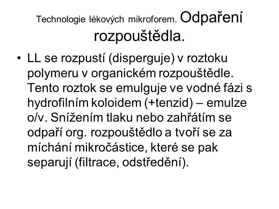 Technologie lékových mikroforem. Odpaření rozpouštědla. •LL se rozpustí (disperguje) v roztoku polymeru v organickém rozpouštědle. Tento roztok se emu