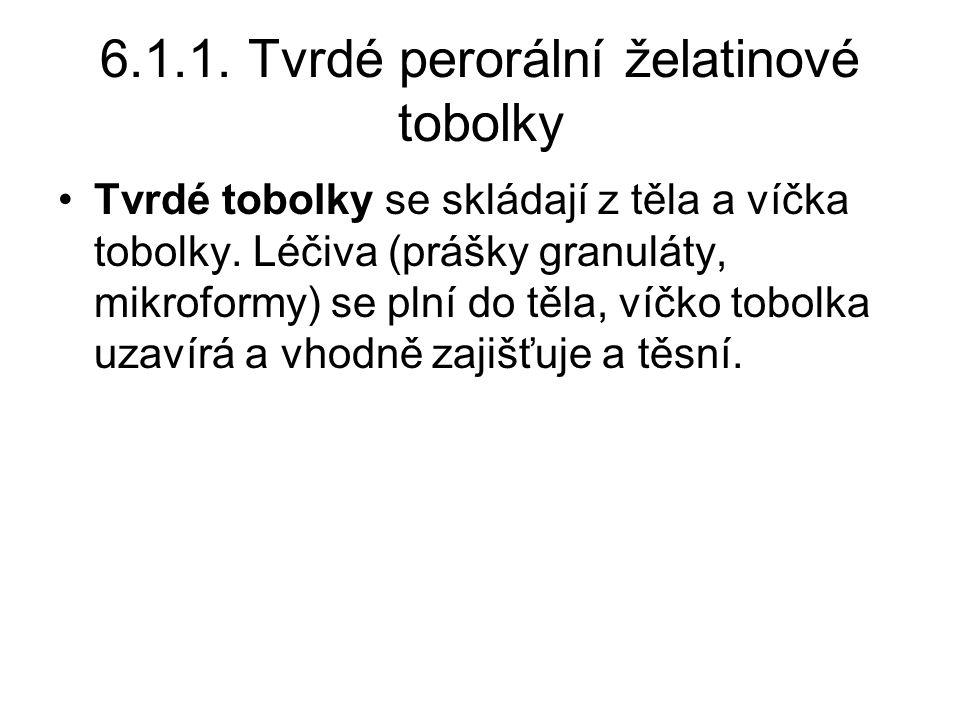 6.1.1.Tvrdé perorální želatinové tobolky •Tvrdé tobolky se skládají z těla a víčka tobolky.
