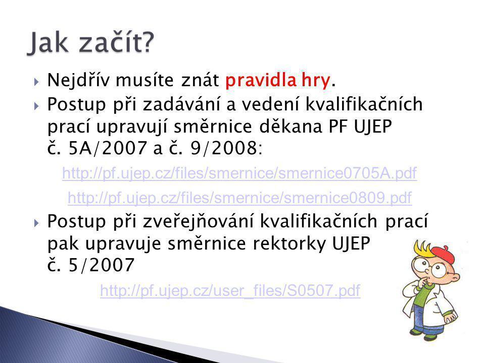  Nejdřív musíte znát pravidla hry.  Postup při zadávání a vedení kvalifikačních prací upravují směrnice děkana PF UJEP č. 5A/2007 a č. 9/2008: http: