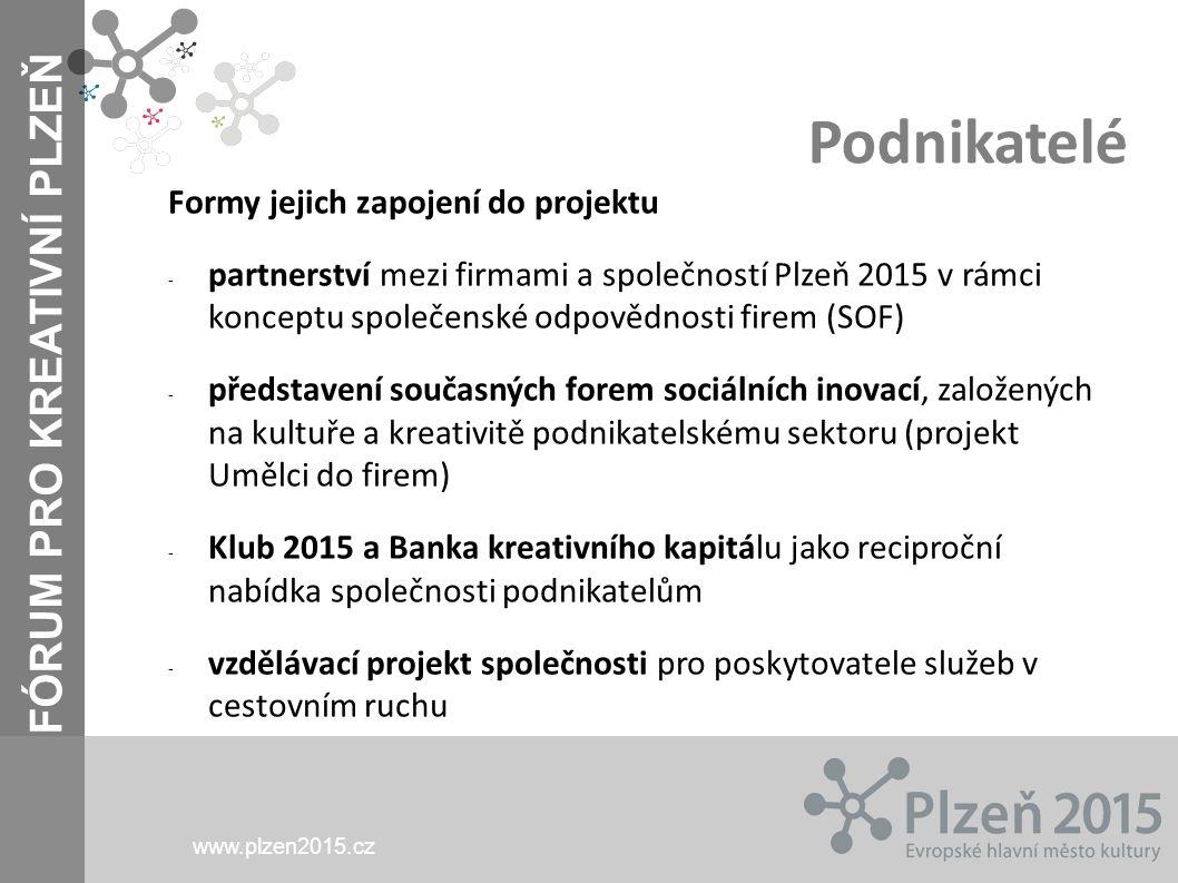 FÓRUM PRO KREATIVNÍ PLZEŇ www.plzen2015.cz Podnikatelé Formy jejich zapojení do projektu - partnerství mezi firmami a společností Plzeň 2015 v rámci k