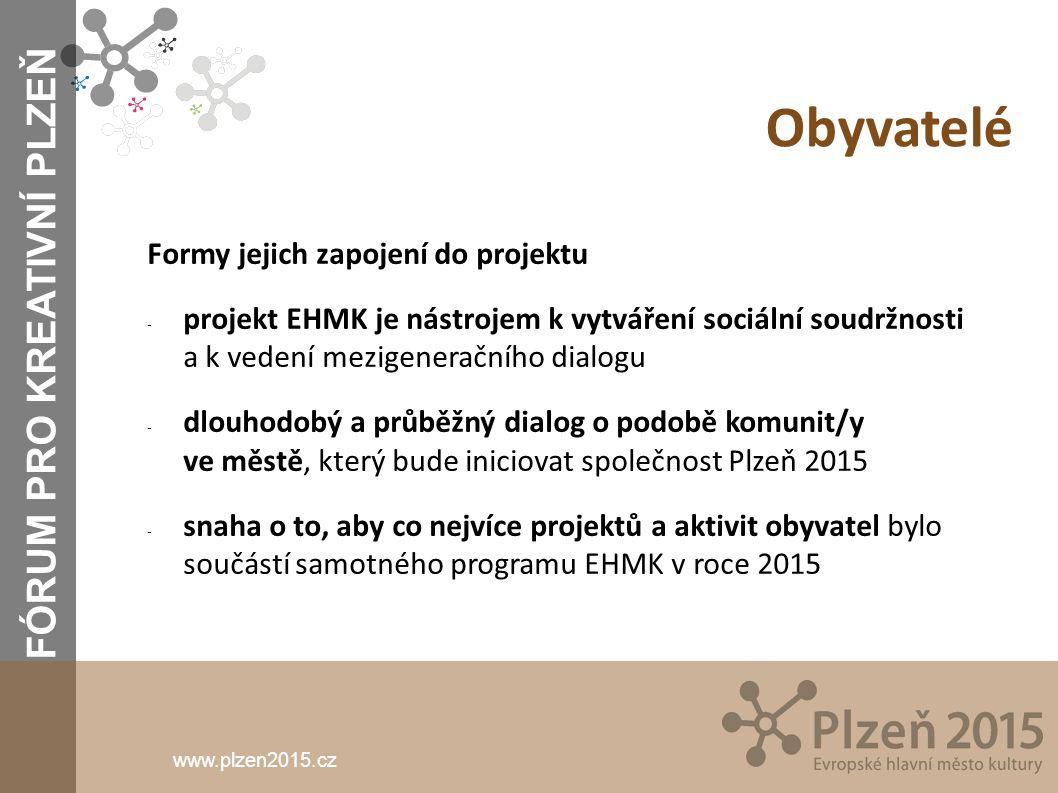 www.plzen2015.cz Obyvatelé Formy jejich zapojení do projektu - projekt EHMK je nástrojem k vytváření sociální soudržnosti a k vedení mezigeneračního d