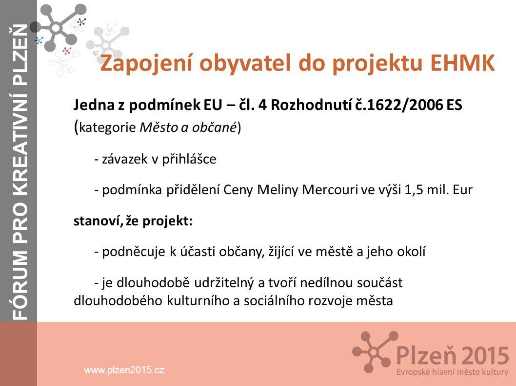 www.plzen2015.cz Obyvatelé Důvody pro jejich zapojení do projektu - hlavní cílová skupina celého projektu EHMK a programu v roce 2015 - nejvýznamnější podskupinou v této kategorii jsou senioři (20% obyvatel města) - prezentace kultury města a kulturnosti jeho obyvatel v ČR a v Evropě prostřednictvím projektu Plzeň EHMK 2015 se týká jednoho každého obyvatele FÓRUM PRO KREATIVNÍ PLZEŇ