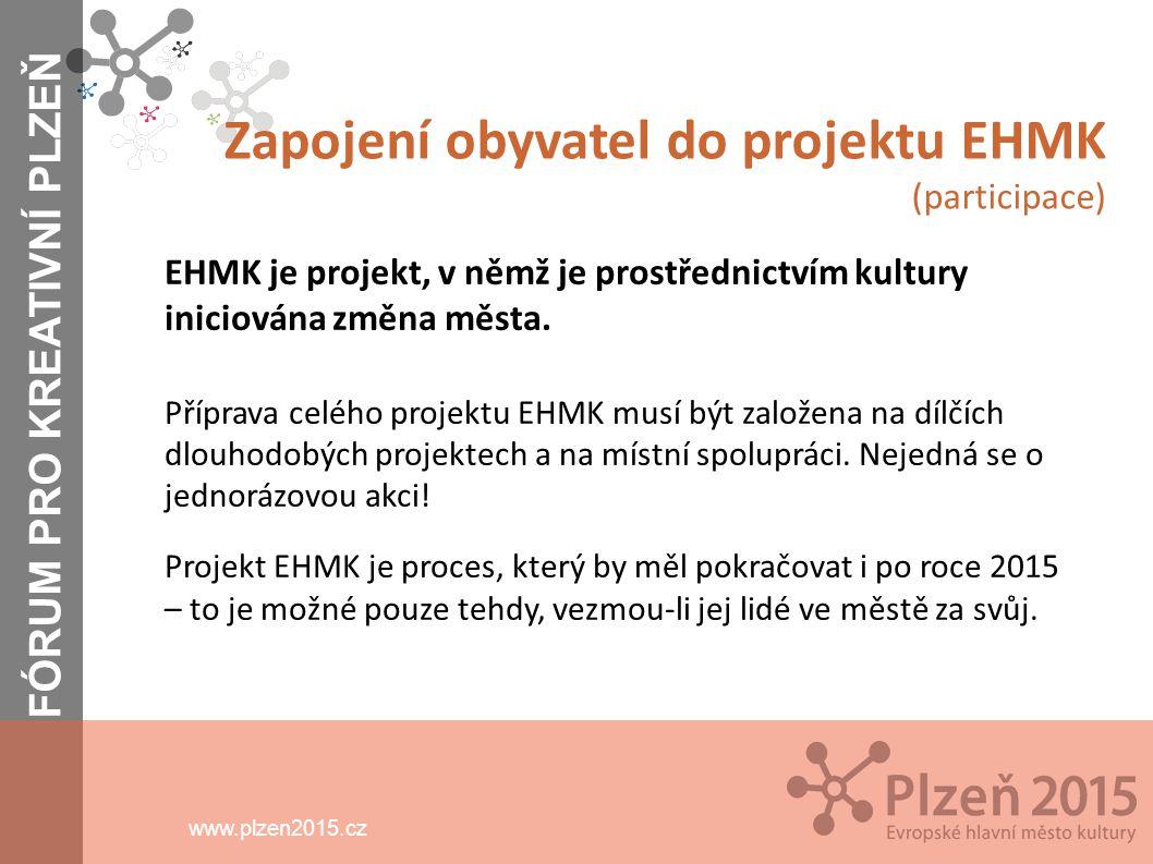 www.plzen2015.cz Obyvatelé Formy jejich zapojení do projektu - projekt EHMK je nástrojem k vytváření sociální soudržnosti a k vedení mezigeneračního dialogu - dlouhodobý a průběžný dialog o podobě komunit/y ve městě, který bude iniciovat společnost Plzeň 2015 - snaha o to, aby co nejvíce projektů a aktivit obyvatel bylo součástí samotného programu EHMK v roce 2015