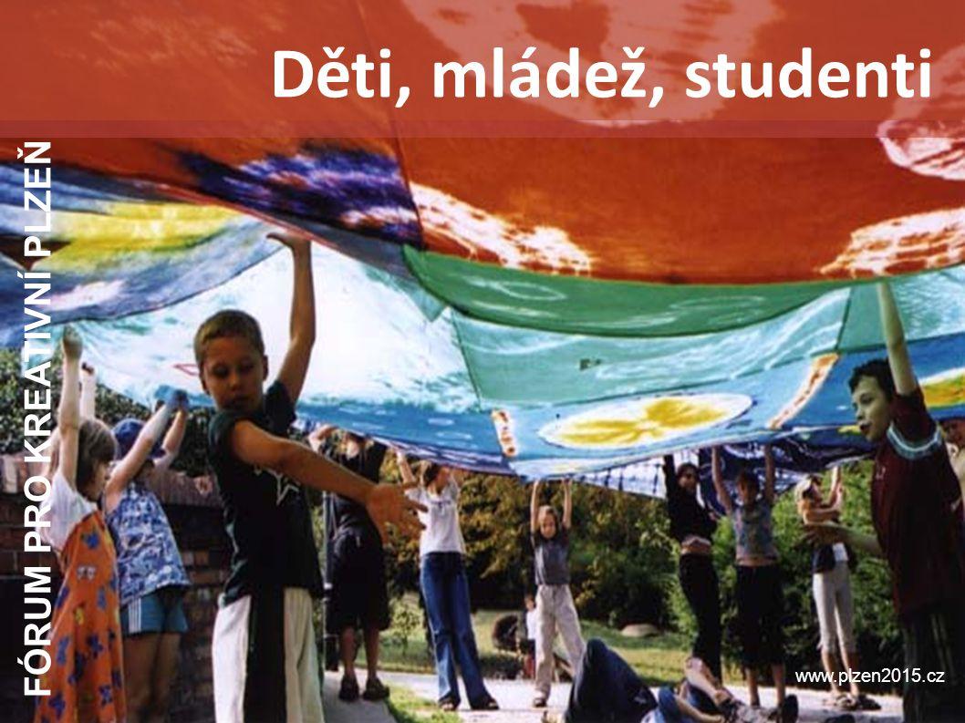 FÓRUM PRO KREATIVNÍ PLZEŇ www.plzen2015.cz Děti, mládež, studenti Důvody pro jejich zapojení do projektu - klíčová skupina v každém městě, které bylo nositelem titulu, samostatně zohledněná v čl.