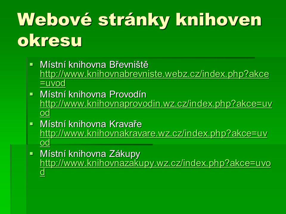 Webové stránky knihoven okresu  Místní knihovna Břevniště http://www.knihovnabrevniste.webz.cz/index.php akce =uvod http://www.knihovnabrevniste.webz.cz/index.php akce =uvod http://www.knihovnabrevniste.webz.cz/index.php akce =uvod  Místní knihovna Provodín http://www.knihovnaprovodin.wz.cz/index.php akce=uv od http://www.knihovnaprovodin.wz.cz/index.php akce=uv od http://www.knihovnaprovodin.wz.cz/index.php akce=uv od  Místní knihovna Kravaře http://www.knihovnakravare.wz.cz/index.php akce=uv od http://www.knihovnakravare.wz.cz/index.php akce=uv od http://www.knihovnakravare.wz.cz/index.php akce=uv od  Místní knihovna Zákupy http://www.knihovnazakupy.wz.cz/index.php akce=uvo d http://www.knihovnazakupy.wz.cz/index.php akce=uvo d http://www.knihovnazakupy.wz.cz/index.php akce=uvo d