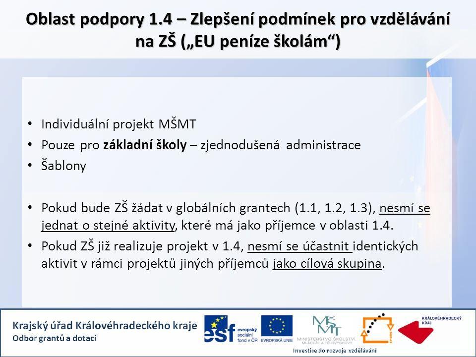 """Oblast podpory 1.4 – Zlepšení podmínek pro vzdělávání na ZŠ (""""EU peníze školám ) • Individuální projekt MŠMT • Pouze pro základní školy – zjednodušená administrace • Šablony • Pokud bude ZŠ žádat v globálních grantech (1.1, 1.2, 1.3), nesmí se jednat o stejné aktivity, které má jako příjemce v oblasti 1.4."""