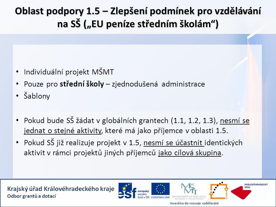 """Oblast podpory 1.5 – Zlepšení podmínek pro vzdělávání na SŠ (""""EU peníze středním školám ) • Individuální projekt MŠMT • Pouze pro střední školy – zjednodušená administrace • Šablony • Pokud bude SŠ žádat v globálních grantech (1.1, 1.2, 1.3), nesmí se jednat o stejné aktivity, které má jako příjemce v oblasti 1.5."""