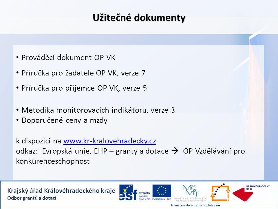 Užitečné dokumenty • Prováděcí dokument OP VK • Příručka pro žadatele OP VK, verze 7 • Příručka pro příjemce OP VK, verze 5 • Metodika monitorovacích indikátorů, verze 3 • Doporučené ceny a mzdy k dispozici na www.kr-kralovehradecky.czwww.kr-kralovehradecky.cz odkaz: Evropská unie, EHP – granty a dotace  OP Vzdělávání pro konkurenceschopnost