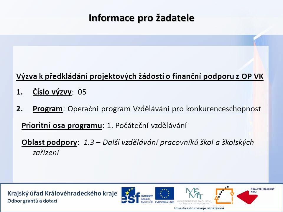 Informace pro žadatele Výzva k předkládání projektových žádostí o finanční podporu z OP VK 1.Číslo výzvy: 05 2.Program: Operační program Vzdělávání pro konkurenceschopnost Prioritní osa programu: 1.