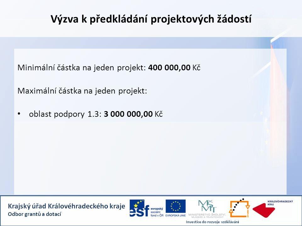 Výzva k předkládání projektových žádostí Minimální částka na jeden projekt: 400 000,00 Kč Maximální částka na jeden projekt: • oblast podpory 1.3: 3 000 000,00 Kč