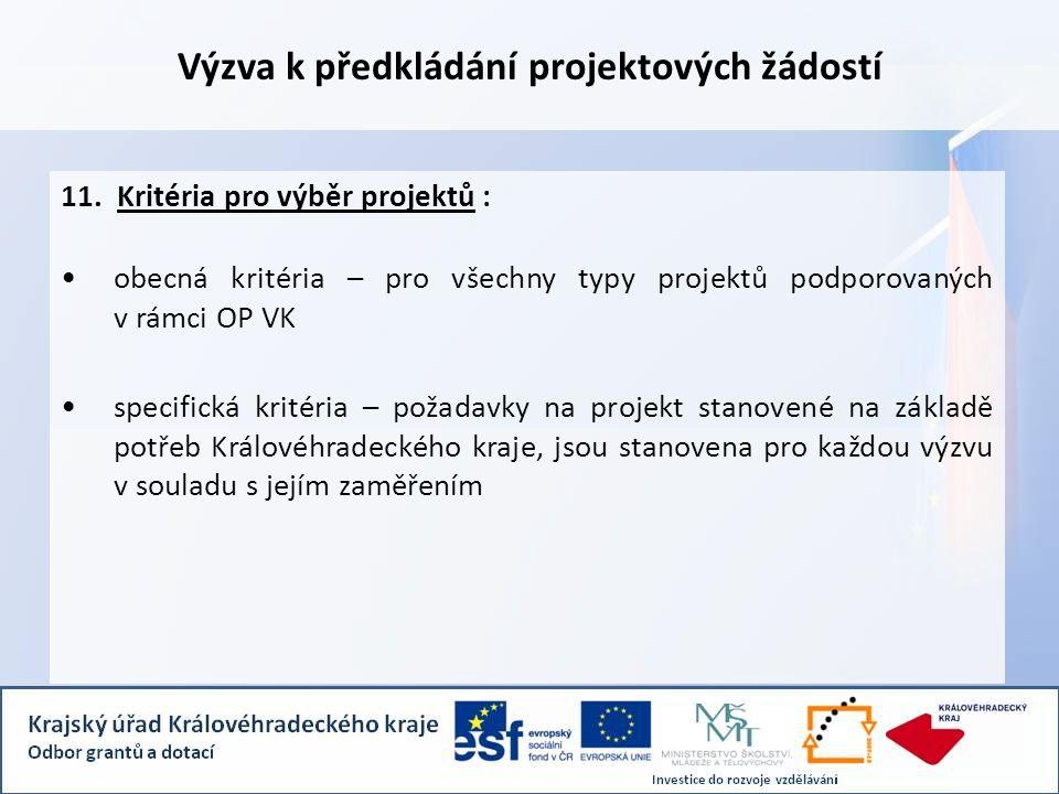 Výzva k předkládání projektových žádostí 11.